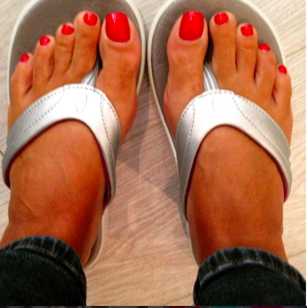silver flip flops sole